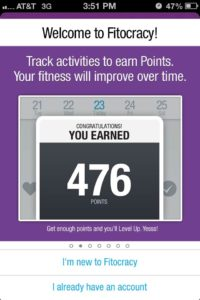 Fitocracy points screenshot